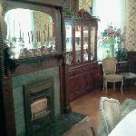 Fireplace and hutch in dining room