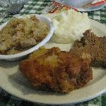 Fried Chicken, meatloaf, mashed potatoes