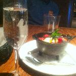 Our complimentary champagne & dessert