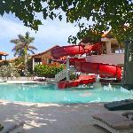 pool, swim up bar, and slide area