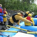 Loading up the raft with our guide Craig