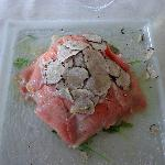 Veal Carpaccio, Shaved Funghi and Truffle Oil.