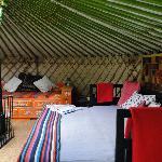 Inside yurt 6