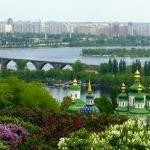 View from around the Victory park and the Lavra monastery