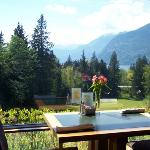 Views of Howe Sound and the 18th hole from the Sea to Sky Grill