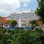 the cruise ship from mahogany bay market place
