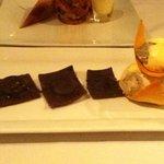 Chocolate ravioli with chocolate and chili ice cream