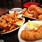 Fisherman's Platter, Onion Rings, and Cod with coleslaw