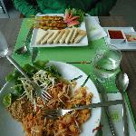 Tasty thai food, Phad thai and chicken satay..
