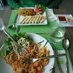Tasty thai food, Phad thai and chicken satay..