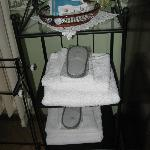 Slippers, towels