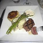Filet mignon with Carolina crab cake, garlic mashed potatoes, grilled asparagus and remoulade.