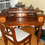 Stationary desk in living room