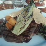 "Sirloin with grilled romaine and amazing ""crouton"" potatoes"