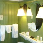 Loved the green breadboard panelling - lovely bathroom!