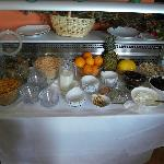 also cereals, fruits and fresh baked goods for breakfast