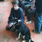 My son with one of Jeff's Alaskan Huskies.