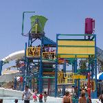 Water play area with slides