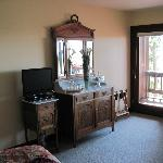 Antiques grace the room but no dresser