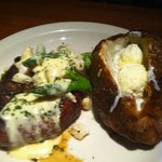 Filet Oscar with baked potato (smothered in butter)