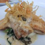 Fillet of Sole with Beurre Blanc, Pureed Potato and Spinach