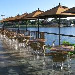 Waterside dining at The Village Pub