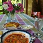 Delicious soup and corn bread