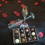 Champagne and chocolates an available extra