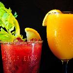 Mimosa with fresh squeezed orange juice or Our Spicy Blood Mary