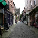 A view from outside La Madeleine towards Hereford Cathedral