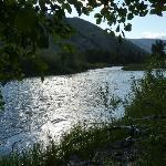 Sun shining on the river like diamonds