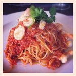 spaghettini prawns - great! love the chili's