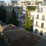 View from the balcony into central Athenian streets