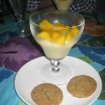 Vanilla and Mango Pudding with Homemade Ginger Cookies