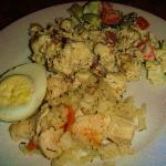 scrambled egg , hard boiled egg and rice for breakfast