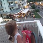 view from balcony on to street