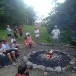 This is the evening camp fire. Cardigan Lodge is in the background.