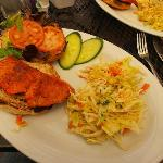 Blackened sockeye salmon with home-made coleslaw