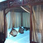 our bed with bed valance