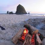Sunset with campfire on the beach