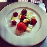 english strawberries, elderflower jelly, black peppermirangues, pistachio cake