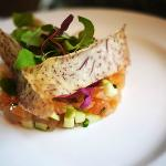 SMOKED TROUT TARTARE with pickled vegetables and wasabi mayonnaise