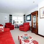 Lounge area with fantastic sea views over to Scotland, overlooking lighthouse in Ballygall bay