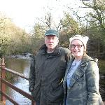 Me and my dad in the rear of the lodge overlooking the creekside