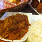 lamb kerahi with rice and naan
