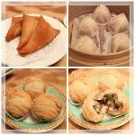 蟹と豆腐の春巻き、小籠包、鴨肉入りの揚げパン