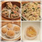 シュウマイ、塩豚と卵の炒飯、揚げカスタードパイ