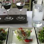 Flight of salads and Bordeaux