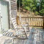Porch area overlooking woods/mountains