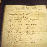 Hotel register from 1889 on display